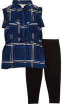 River Island Mini girls blue check shirt leggings outfit