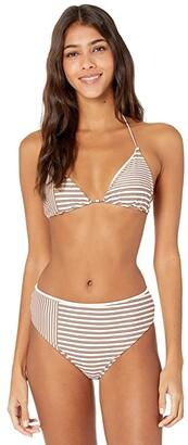 O'Neill Sunray Stripe Hi-Waist Bikini Bottoms (Vanilla) Women's Swimwear