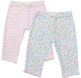 John Lewis Floral Trousers, Pack of 2, Pink/White