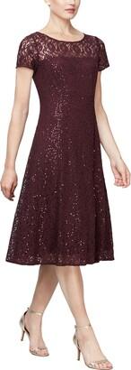 SL Fashions Tea Length Sequin Lace Dress