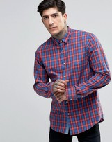 Scotch & Soda Shirt In Navy/red Check In Regular Fit In Red
