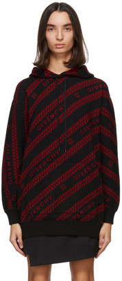 Givenchy Black and Red Chain Hoodie