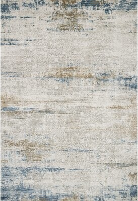 "17 Stories Jeffrey Ivory/Azure Area Rug Rug Size: Rectangle 12'2"" x 15'"