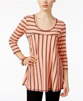 NY Collection Ribbed-Knit Swing Top