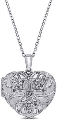 FINE JEWELRY Womens Diamond Accent Genuine White Diamond Sterling Silver Heart Locket Necklace