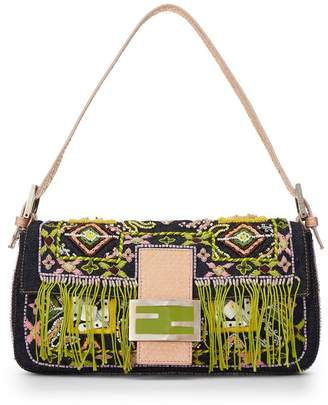 Fendi Denim Beaded Embroidery Baguette