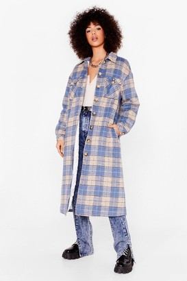 Nasty Gal Womens CHECKED QUILT LINED MAXI SHACKET - Blue - 4