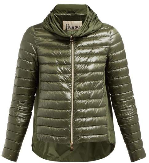 Herno Pleated Collar Quilted Down Jacket - Womens - Green