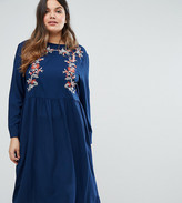 Alice & You Embroidered Long Sleeve Midi Dress
