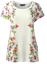 Lands' End Women's Petite Art T-shirt-Eggshell White Floral