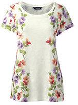 Lands' End Women's Tall Art T-shirt-Eggshell White Floral