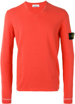 Stone Island V-neck logo patch jumper - men - Cotton - S