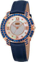 Burgi Womens Diamond Accent Crystal Rose-Tone and Blue Strap Watch