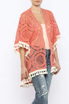 Judith March Orange Crochet Kimono
