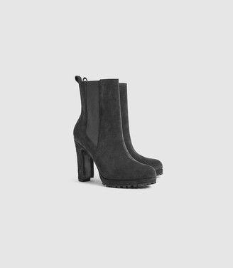 Reiss AMALIA SUEDE HEELED ANKLE BOOTS Charcoal Grey