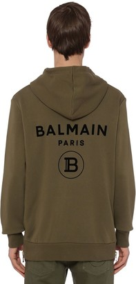 Balmain Flocked Logo Cotton Jersey Zip Hoodie