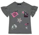 George Stripe Frill Sleeve Top