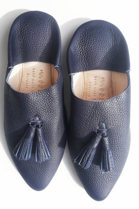 Moor Morocco - Leather Babouches in Nautical Navy with Navy Tassel