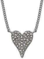 INC International Concepts Silver-Tone Pavé Heart Pendant Necklace, Only at Macy's