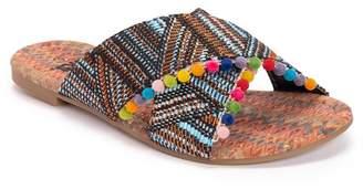 Muk Luks Greer Woven Crossover Pompom Sandal