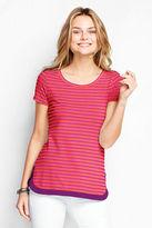 Lands' End Women's Short Sleeve Stripe Lightweight Cotton Modal Petal Hem Top