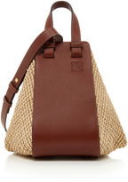 Loewe Hammock Raffia and Leather Tote