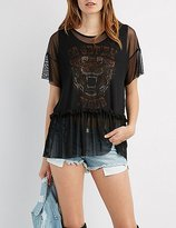 Charlotte Russe Mesh Overlay Tiger Graphic Top
