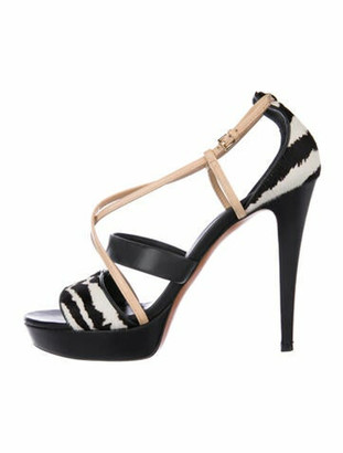 Gucci Leather Printed Sandals Black