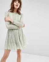 Asos Beautiful Bugle Beaded Long Sleeve Skater Dress