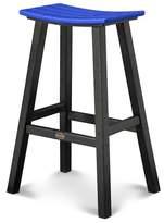 Polywood Contempo Patio Saddle Bar Stool - Black/Pacific Blue