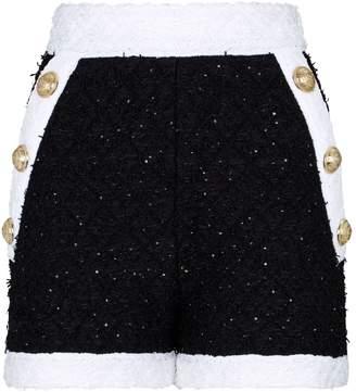 Balmain High-Waist Tweed Shorts
