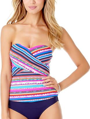 Anne Cole Women's Tankini Tops MULT - Pink & Aqua Stripe Wrap Tankini Top - Women