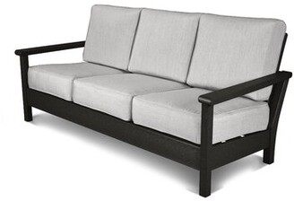 Polywoodâ® Harbour Patio Sofa with Cushions POLYWOODA Finish: Black, Fabric: Canvas Granite