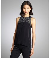 French Connection midnight and moondust semi-sheer silk sequined yoke sleeveless top