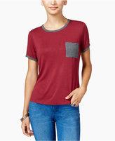 Ultra Flirt Juniors' Ringer T-Shirt with Pocket