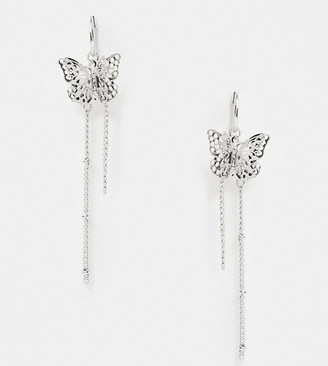 Reclaimed Vintage inspired chain drop butterfly earrings in silver