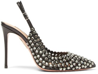 Aquazzura Tequila 105 Crystal-embellished Slingback Pumps - Black