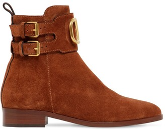 Valentino 25mm Vlogo Suede Ankle Boots