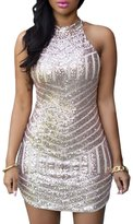 Maxwell Women's Sexy Sparkling Sequin Halter Sleeveless Mini Dress (L)
