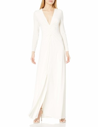 Halston Women's Long Sleeve V Neck Ruched Front Gown
