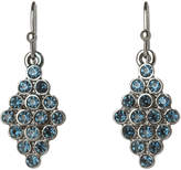 TNJHW17ER55 Jewelled Black Diamond Crystal Leaves Statement Fish Hook Earrings
