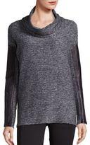 Blanc Noir Leather Trim Cowlneck Sweater