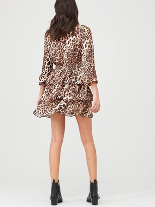 Very Printed Tiered Skater Dress - Leopard