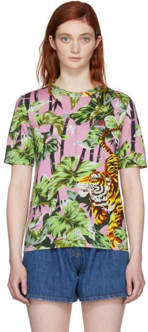 Kenzo Pink Straight Graphic T-Shirt