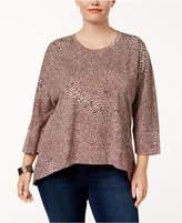Melissa McCarthy Plus Size Back-Zip High-Low Tunic