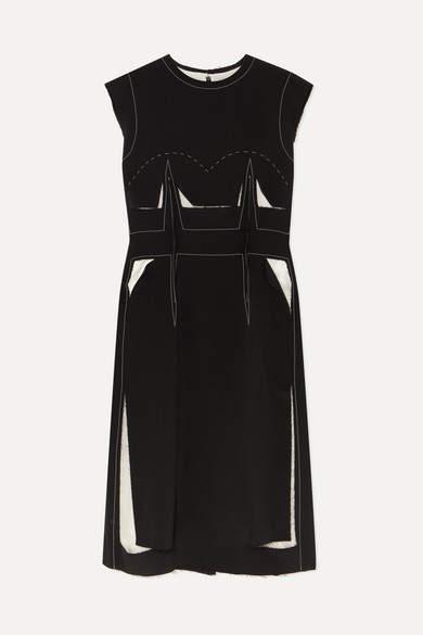 Maison Margiela Cotton-trimmed Wool-blend Dress - Black