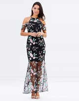 Lipsy Marker High Neck Embroidered Maxi Dress