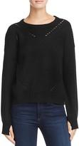 Aqua Sophia Drop Stitch Crewneck Sweater
