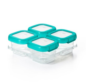 OXO Baby Blocks Leakproof Food Storage Container Teal 4 OZ 6-Pack