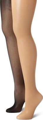 MUSIC LEGS Women's 2 Pack Seamless Fishnet Pantyhose